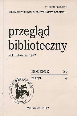 Przegląd Biblioteczny 2012, z. 4