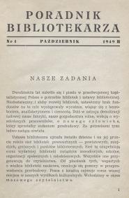Okładka Poradnik Bibliotekarza 1949, nr 1