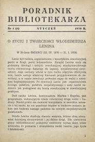 Okładka Poradnik Bibliotekarza 1950, nr 1