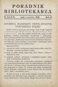 Okładka Poradnik Bibliotekarza 1950, nr 5-6