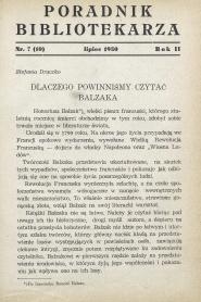 Okładka Poradnik Bibliotekarza 1950, nr 7