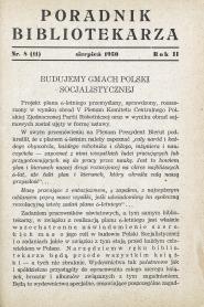 Okładka Poradnik Bibliotekarza 1950, nr 8