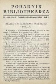 Okładka Poradnik Bibliotekarza 1950, nr 10-11