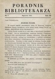 Okładka Poradnik Bibliotekarza 1951, nr 1