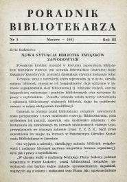 Okładka Poradnik Bibliotekarza 1951, nr 3