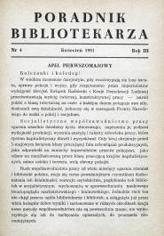 Okładka Poradnik Bibliotekarza 1951, nr 4