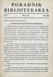 Okładka Poradnik Bibliotekarza 1951, nr 5