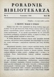 Poradnik Bibliotekarza 1951, nr 6