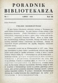 Poradnik Bibliotekarza 1951, nr 7