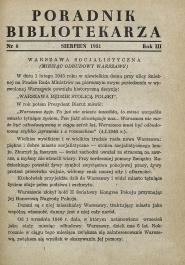 Okładka Poradnik Bibliotekarza 1951, nr 8