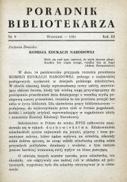 Okładka Poradnik Bibliotekarza 1951, nr 9