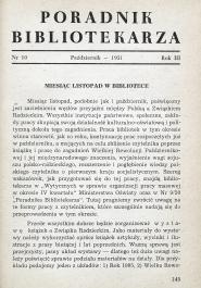 Okładka Poradnik Bibliotekarza 1951, nr 10