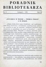Okładka Poradnik Bibliotekarza 1951, nr 11