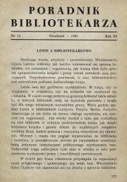 Poradnik Bibliotekarza 1951, nr 12