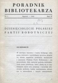 Okładka Poradnik Bibliotekarza 1952, nr 1