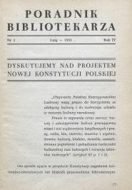 Okładka Poradnik Bibliotekarza 1952, nr 2