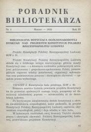 Okładka Poradnik Bibliotekarza 1952, nr 3