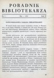 Okładka Poradnik Bibliotekarza 1952, nr 5