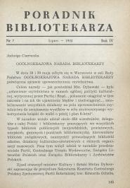 Poradnik Bibliotekarza 1952, nr 7