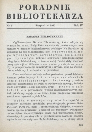 Okładka Poradnik Bibliotekarza 1952, nr 8