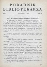 Poradnik Bibliotekarza 1952, nr 9