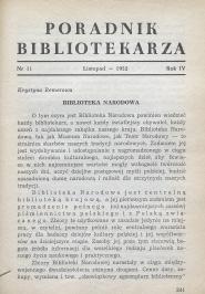 Okładka Poradnik Bibliotekarza 1952, nr 11