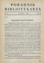 Okładka Poradnik Bibliotekarza 1952, nr 12