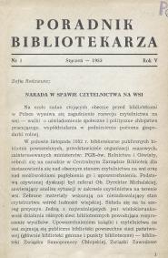 Poradnik Bibliotekarza 1953, nr 1