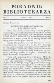 Okładka Poradnik Bibliotekarza 1953, nr 7