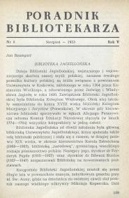 Poradnik Bibliotekarza 1953, nr 8