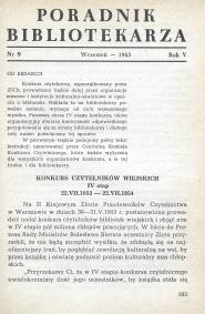Okładka Poradnik Bibliotekarza 1953, nr 9