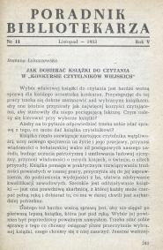 Okładka Poradnik Bibliotekarza 1953, nr 11