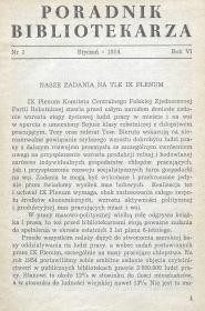 Okładka Poradnik Bibliotekarza 1954, nr 1