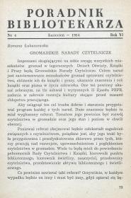 Okładka Poradnik Bibliotekarza 1954, nr 4
