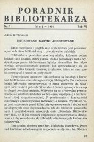 Okładka Poradnik Bibliotekarza 1954, nr 5