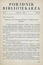 Okładka Poradnik Bibliotekarza 1954, nr 6