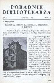 Okładka Poradnik Bibliotekarza 1954, nr 8