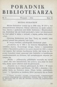 Okładka Poradnik Bibliotekarza 1954, nr 9