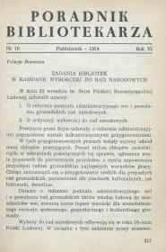 Okładka Poradnik Bibliotekarza 1954, nr 10