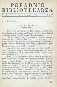 Okładka Poradnik Bibliotekarza 1954, nr 11