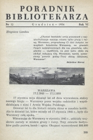 Okładka Poradnik Bibliotekarza 1954, nr 12