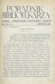 Okładka Poradnik Bibliotekarza 1955, nr 4