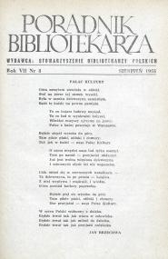 Okładka Poradnik Bibliotekarza 1955, nr 8