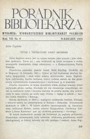 Okładka Poradnik Bibliotekarza 1955, nr 9