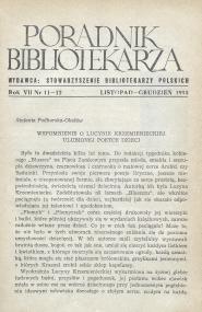 Okładka Poradnik Bibliotekarza 1955, nr 11-12
