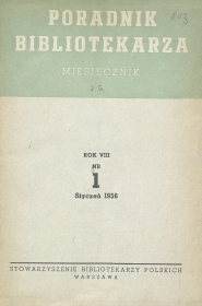 Poradnik Bibliotekarza 1956, nr 1
