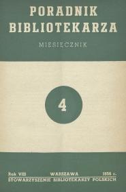 Okładka Poradnik Bibliotekarza 1956, nr 4