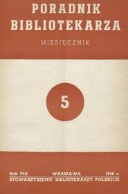 Okładka Poradnik Bibliotekarza 1956, nr 5
