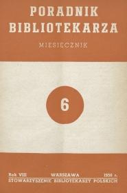 Okładka Poradnik Bibliotekarza 1956, nr 6