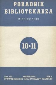 Okładka Poradnik Bibliotekarza 1956, nr 10-11